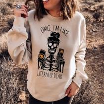 Retro Style Skull Head Printed Long Sleeve Round Neck All Saints' Day Sweatshirt