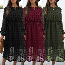 Fashion Solid Color Long Sleeve Round Neck High Waist Hairball Dress