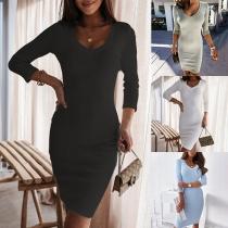 Simple Style Long Sleeve V-neck Solid Color Slim Fit Dress