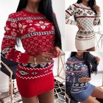 Fashion Long Sleeve Round Neck Rhombus Pattern Slim Fit Knit Dress