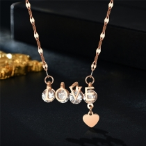Sweet Style Rhinestone Inlaid LOVE Pendant Necklace