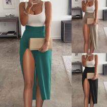 Sexy Backless U-neck High Waist Slit Hem Contrast Color Party Dress