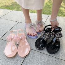 Sweet Style Rhinestone Bow-knot Flat Heel Thong Sandals