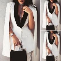 OL Style Contrast Color Lapel Cape-stype Blazer + Skirt Two-piece Set