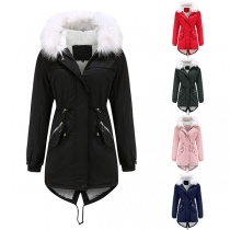 Fashion Faux Fur Spliced Hooded Plush Lining Solid Color Padded Coat