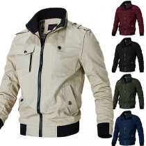 Fashion Contrast Color Long Sleeve Stand Collar Man's Jacket