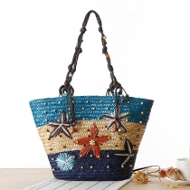 Bohemian Style Handmade Embroidery Starfish Beaded Woven Bag