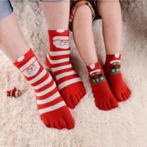 Cute Style Christmas Printed Contrast Color Toe Socks 5 pairs/Bag