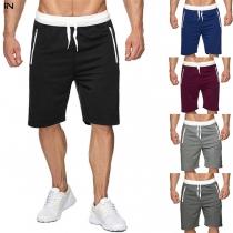 Fashion Contrast Color Drawstring Waist Man's Knee-length Shorts