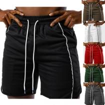 Casual Style Elastic Drawstring Waist Man's Sports Shorts