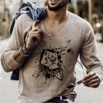 Fashion Long Sleeve V-neck Printed T-shirt for Man
