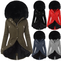 Fashion Solid Color Faux Fur Spliced Long Sleeve Hooded Slim Fit Padded Coat