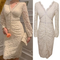 Sexy Backless V-neck Long Sleeve Slim Fit Beaded Lace Dress