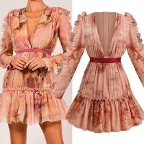 Sexy Deep V-nekc Long Sleeve Ruffle Hem Slim Fit Printed Dress
