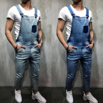 Casual Style Middle Waist Patch Pocket Man's Denim Overalls