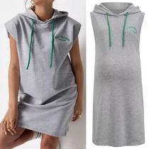 Fashion Sleeveless Hooded Letters Embroidery Maternity Sweatshirt Dress