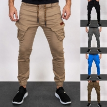 Casual Style Solid Color Drawstring Waist SSide-pocket Man's Pants