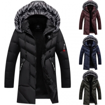 Fashion Solid Color Faux Faux Spliced Hooded Slim Fit Man's Padded Coat