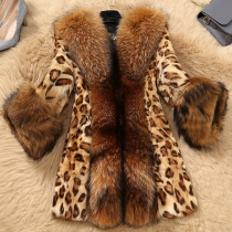Fashion Faux Fux Spliced Long Sleeve Leopard Printed Coat