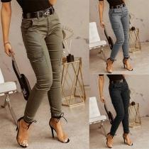 Fashion High Waist Solid Color Slim Fit Side-pocket Pants