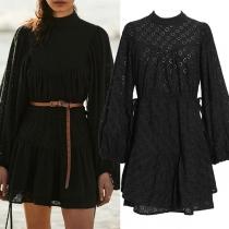 Fashion Lantern Sleeve Stand Collar Drawstring High Waist Hollow Out Dress