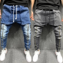 Casual Style Drawstring Middle Waist Big-pocket Man's Zipper Jeans