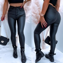 Fashion Solid Color High Waist Front-button Slim Fit PU Leather Pants