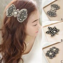 Fashion Pearl Rhinestone Inlaid Bang Hair Magic Sticker