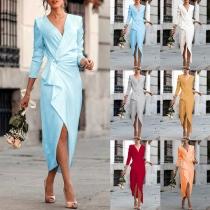 Sexy V-neck Irregular Slit Hem Long Sleeve Solid Color Slim Fit Dress