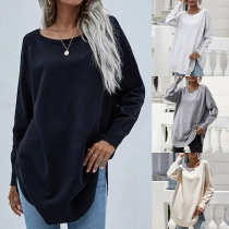 Casual Style Long Sleeve Round Neck Solid Color Loose Knit Top