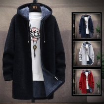 Fashion Solid Color Long Sleeve Hooded Plush Lining Man's Knit Coat