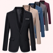OL Style Long Sleeve One-button Solid Color Slim Fit Man's Suit Coat