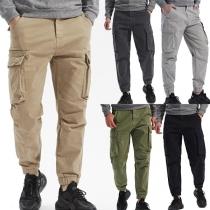Fashion Solid Color Middle-waist Side-pocket Man's Pants