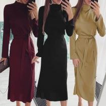 Elegant Solid Color Long Sleeve Mock Neck Slim Fit Dress with Waist Strap