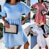 Fashion Solid Color Ruffle Cuff Short Sleeve Round Neck Loose Dress