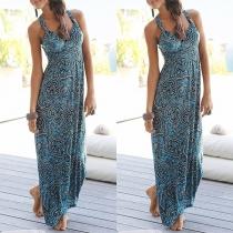 Bohemian Style Backless V-neck High Waist Sling Printed Maxi Dress