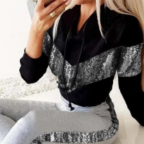 Fashion Sequin Spliced Long Sleeve Hooded Sweatshirt + Pants Two-piece Set