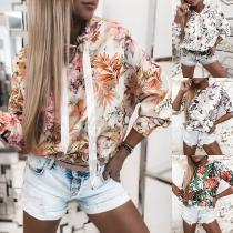 Fashion Long Sleeve Hooded Colorful Printed Sweatshirt Hoodies