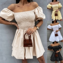 Sexy Off-shoulder Boat Neck Puff Sleeve High Waist Wrinkled Dress