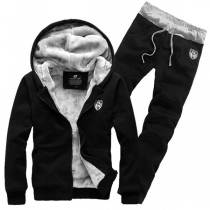 Fashion Solid Color Plush Lining Hooded Sweatshirt Coat + Pants Man's Two-piece Set