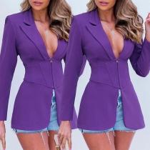 OL Style Long Sleeve Solid Color Slim Fit Blazer Coat