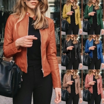 Fashion Solid Color Long Sleeve Stand Collar PU Leather Jacket