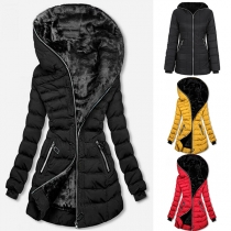 Fashion Solid Color Long Sleeve Hooded Slim Fit Padded Coat
