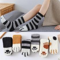 Fashion Contrast Color Cartoon Pattern Coral Fleece Floor Socks