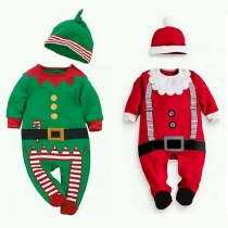 Cute Contrast Color Long Sleeve Round Neck Kids Christmas Jumpsuit with Cap