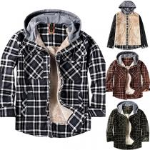 Fashion Long Sleeve Hooded Plush Lining Man's Plaid Coat