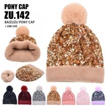 Fashion Detachable Hairball Plush Lining Sequin Knit Beanies