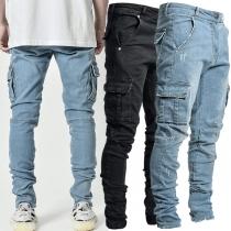 Fashion Middle Waist Side-pocket Man's Jeans