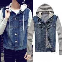 Fashion Long Sleeve Hooded Man's Denim Coat