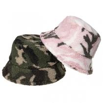 Fashion Camouflage Printed Faux Lamb Wool Bucket Hat Fisherman Hat